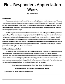 First Responders Appreciation Week Reading Passage and Que