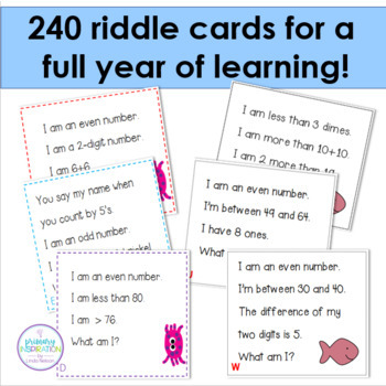 First & Second Grade Math Bundle 240 Riddle Cards for the 120 Chart