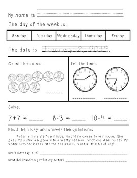 First/Second Grade Morning Work January through June - growing bundle