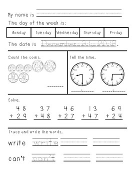 First/Second Grade Morning Work January through June w/ Double Digit Addition