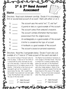 First & Second Hand Account Assessment for 4th Grade (CCSS aligned!)