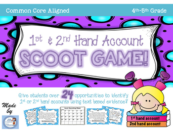 First & Second Hand Account Scoot Game for 4th-5th grade (CCSS aligned!)