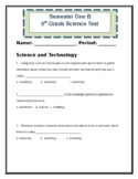Indiana 6th Grade Science Pre-Test-2016 Basic Science Standards