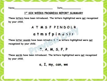 First Six Week Progress Report