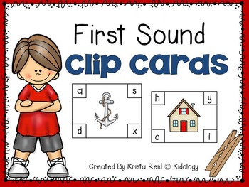 First Sound Clothespin Clip Cards - Literacy Center, Activity, Game