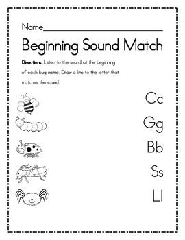 First Sound Fluency Beginning Bug Sounds