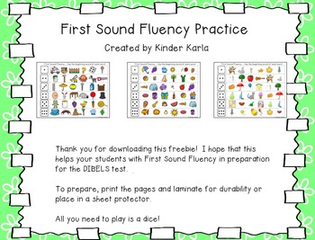 First Sound Fluency: DIBELS Practice by Karla's Kreations ...
