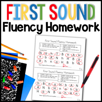 First Sound Fluency Homework (RTI for Kindergarten)