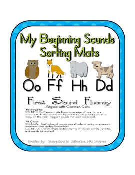 First Sound Fluency- Sorting Mats - Common Core Aligned (O,F,H, and D)