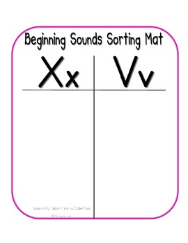 First Sound Fluency- Sorting Mats - Common Core Aligned (X,V,J,and Q)