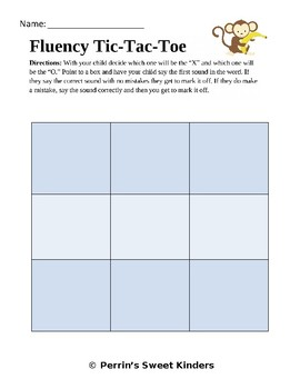 First Sound Fluency Tic-Tac-Toe EDITABLE