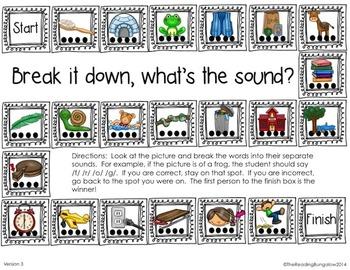 First Sound Fluency/Phoneme Segmentation Gameboards