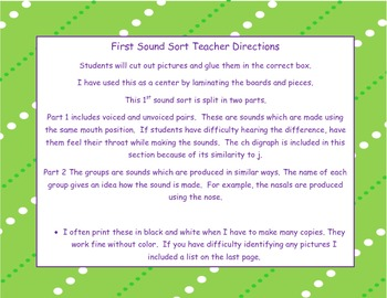 First Sound Sort: Voiced/Unvoiced and Sound Groups