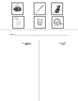 First Sound Sorting and CVC Short Vowel Word Family Sorting