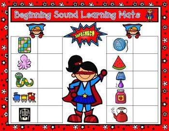 First Sounds Learning Mats:  Superhero Beginnng Sounds Magnetic Letter Game