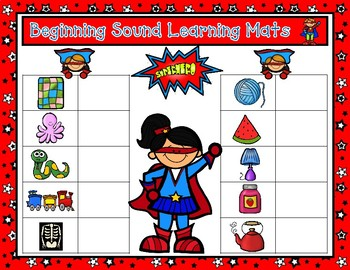 First Sounds Learning Mats:  Superhero Beginning Sounds Magnetic Letter Game