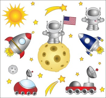 First Step On The Moon Clip Art Set - Space