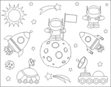 First Step On The Moon Clip Art Set - Space - Black And White