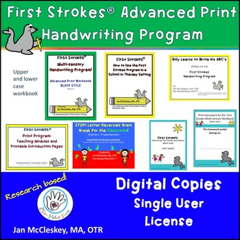 DISTANCE LEARNING First Strokes Advanced Print Handwriting - Individual License
