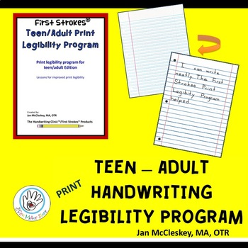 DISTANCE LEARNING First Strokes Print Handwriting for Teen-Adult- Individual