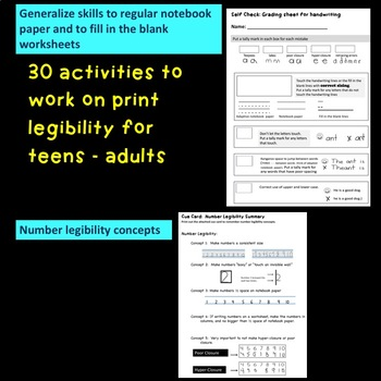 First Strokes Print Legibility Program for Teen - Adult!  Bldg License/download