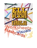 First Ten Beginner ELL Packet with worksheets and flashcards