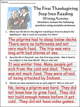 Thanksgiving History: The First Thanksgiving Activity Packet