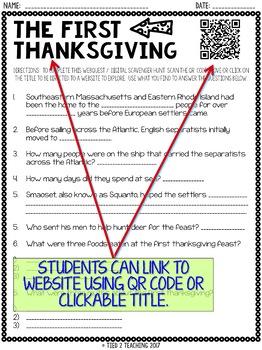First Thanksgiving Activity: Internet Scavenger Hunt