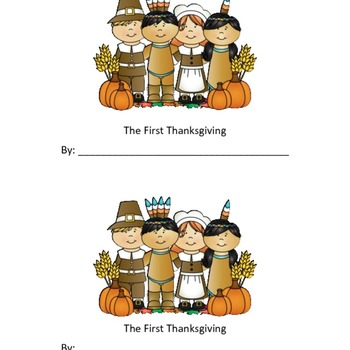 First Thanksgiving Booklet for Kindergarten