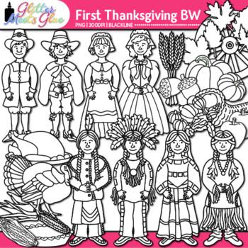 First Thanksgiving Clip Art {Pilgrim & Native American Graphics} B&W
