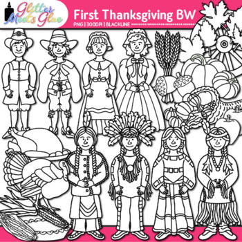 First Thanksgiving Clip Art | Pilgrim & Native American Graphics | B&W