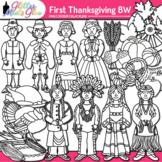 First Thanksgiving Clip Art {Pilgrim & Native American Gra