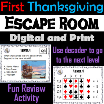 First Thanksgiving: Escape Room - Social Studies