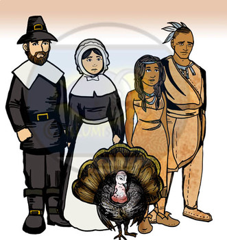 First Thanksgiving History Clip-Art-10 Pieces