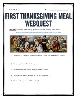 First Thanksgiving Meal - Webquest with Key