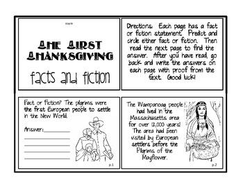 First Thanksgiving Mini Book Fact vs. Fiction