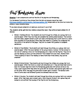 First Thanksgiving Minilesson