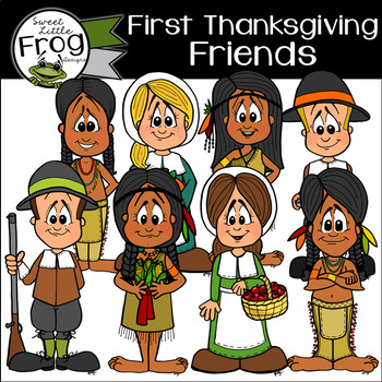 First Thanksgiving Pilgrims and Native Americans Friends Clip Art