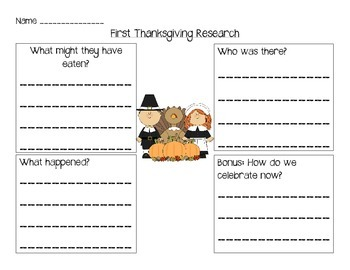 First Thanksgiving Research Organizer