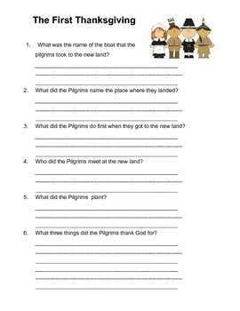 First Thanksgiving Worksheet