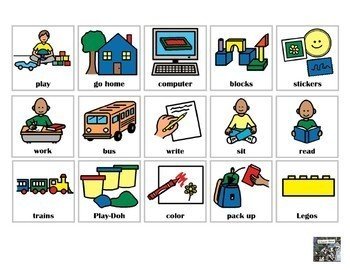 First Then Behavior Chart Visual with 30 pictures