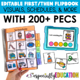 First Then Board & Visual Schedule Flip Books (EDITABLE) for Special Education
