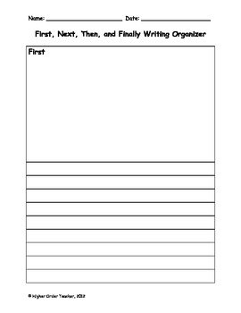 First, Then, Next, and Finally Writing Organizer