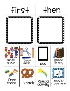 first then visual schedule board with picture cards by klooster 39 s kinders. Black Bedroom Furniture Sets. Home Design Ideas