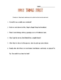 First Things First Transition Word Worksheet