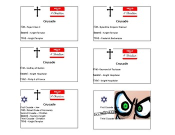 First Three Crusades Role Cards