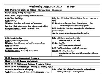 First Days of Kindergarten Editable Lesson Plan