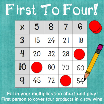 First To Four A Differentiated Multiplication Practice Game By