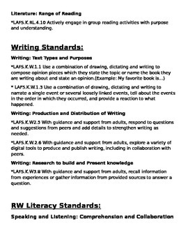 First Trimester Kindergarten Standards for teachers or parents