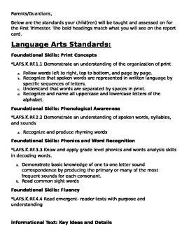 First Trimester Kindergarten Standards for teachers or parents
